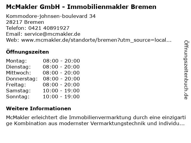 McMakler GmbH - Immobilienmakler Bremen in Bremen: Adresse und Öffnungszeiten