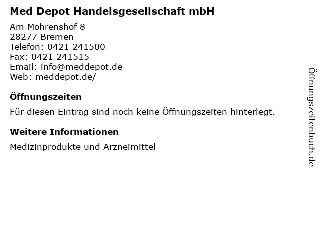 ᐅ öffnungszeiten Med Depot Handelsgesellschaft Mbh Am