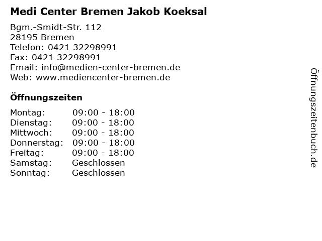Medi Center Bremen Jakob Koeksal in Bremen: Adresse und Öffnungszeiten