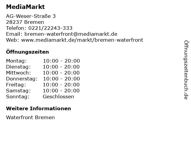 Media Markt TV-Hifi-Elektro GmbH in Bremen: Adresse und Öffnungszeiten