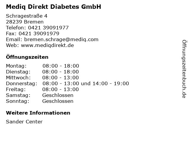 Mediq Direkt Diabetes GmbH in Bremen: Adresse und Öffnungszeiten