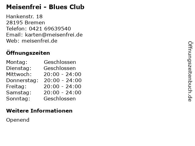 Meisenfrei - Blues Club in Bremen: Adresse und Öffnungszeiten
