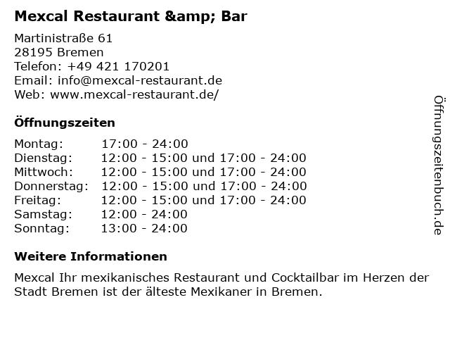 Mexcal Restaurant & Bar in Bremen: Adresse und Öffnungszeiten