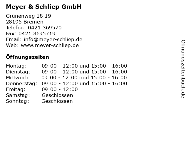 Bremer Verwaltungs- u. Betreuungsges. mbH Meyer u. Schliep in Bremen: Adresse und Öffnungszeiten
