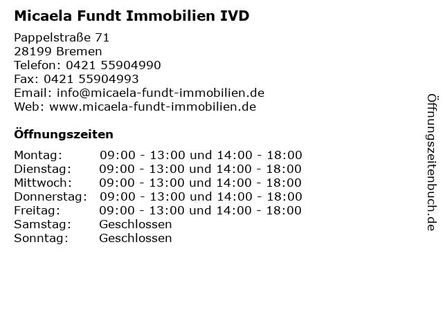 Micaela Fundt Immobilien IVD in Bremen: Adresse und Öffnungszeiten
