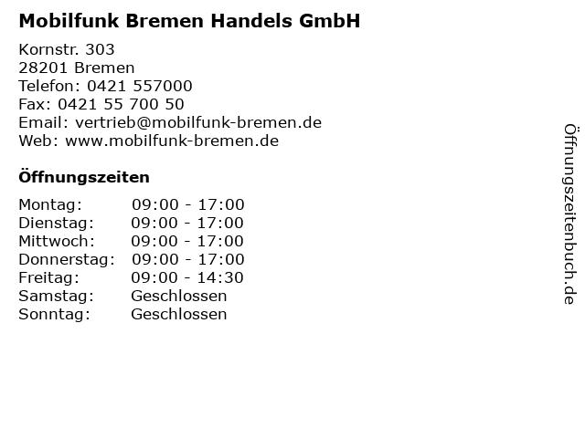 Mobilfunk Bremen Handels GmbH in Bremen: Adresse und Öffnungszeiten