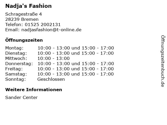 Nadja's Fashion in Bremen: Adresse und Öffnungszeiten