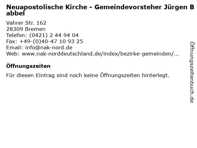 Neuapostolische Kirche - Gemeindevorsteher Jürgen Babbel in Bremen: Adresse und Öffnungszeiten