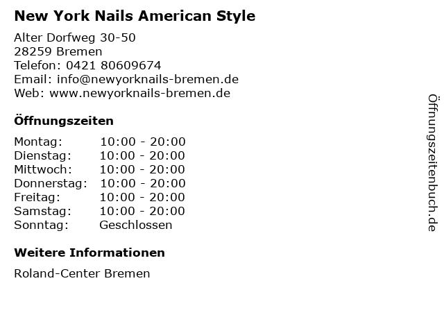 New York Nails American Style in Bremen: Adresse und Öffnungszeiten