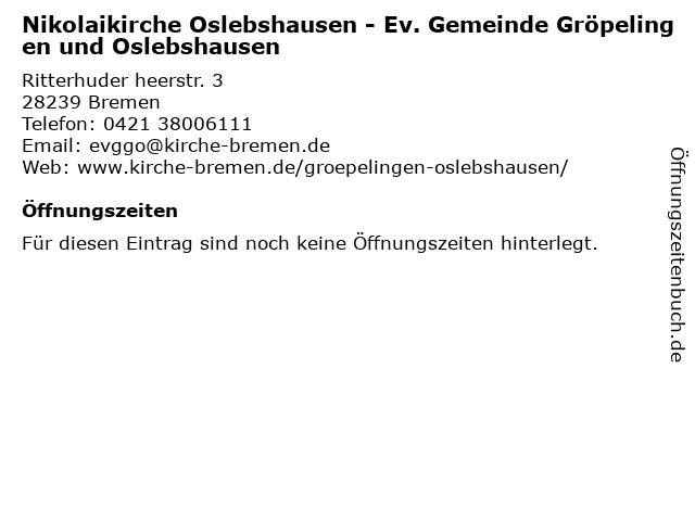 Nikolaikirche Oslebshausen - Ev. Gemeinde Gröpelingen und Oslebshausen in Bremen: Adresse und Öffnungszeiten
