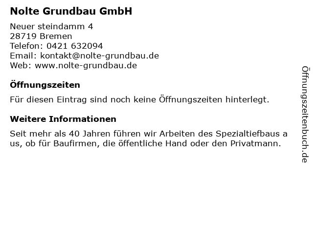 Nolte Grundbau GmbH in Bremen: Adresse und Öffnungszeiten