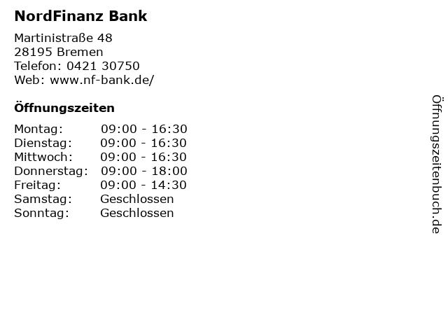 NordFinanz Bank in Bremen: Adresse und Öffnungszeiten