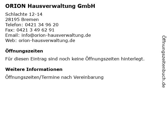 ORION Hausverwaltung GmbH in Bremen: Adresse und Öffnungszeiten