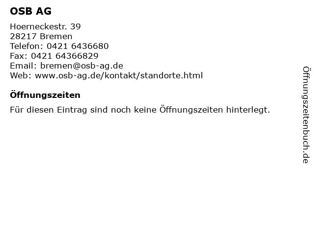 OSB AG in Bremen: Adresse und Öffnungszeiten