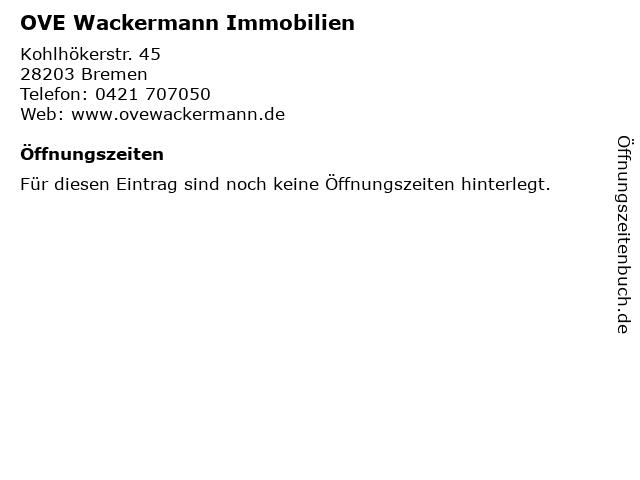OVE Wackermann Immobilien in Bremen: Adresse und Öffnungszeiten