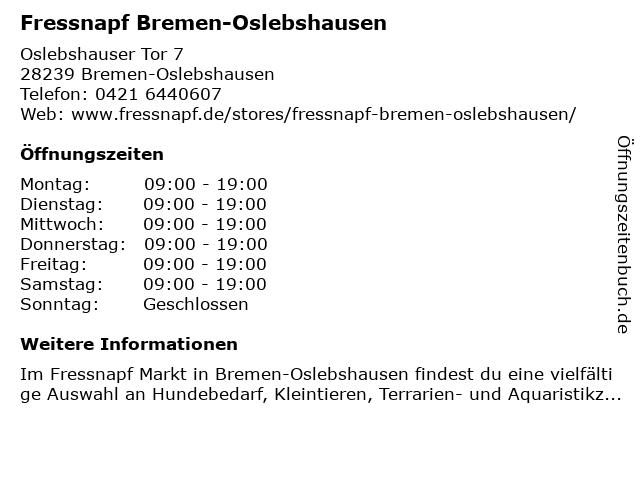 Fressnapf Bremen-Oslebshausen in Bremen: Adresse und Öffnungszeiten