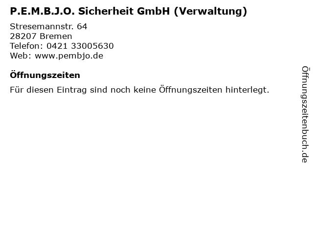 P.E.M.B.J.O. Sicherheit GmbH (Verwaltung) in Bremen: Adresse und Öffnungszeiten