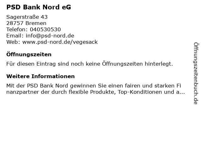 PSD Bank Nord eG in Bremen: Adresse und Öffnungszeiten
