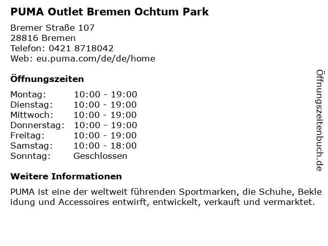 ᐅ öffnungszeiten Puma Outlet Bremer Straße 117 In Stuhr