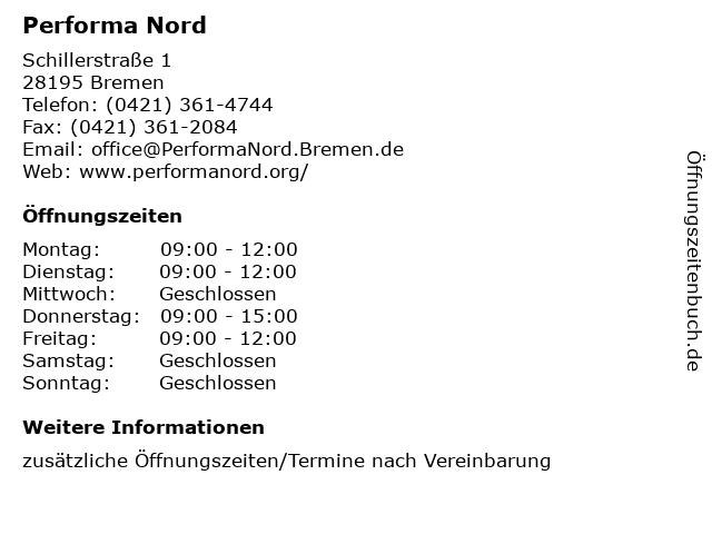 Performa Nord in Bremen: Adresse und Öffnungszeiten