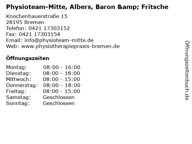 Physioteam-Mitte, Albers, Baron & Fritsche in Bremen: Adresse und Öffnungszeiten