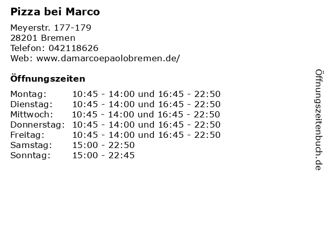 Pizza bei Marco in Bremen: Adresse und Öffnungszeiten