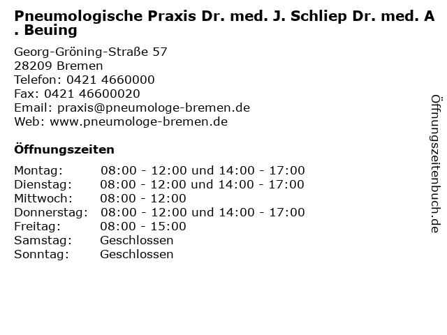 Pneumologische Praxis Dr. med. J. Schliep Dr. med. A. Beuing in Bremen: Adresse und Öffnungszeiten
