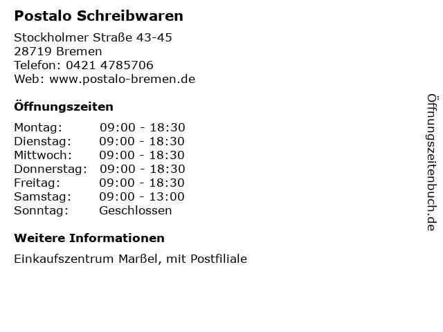 Postalo Schreibwaren in Bremen: Adresse und Öffnungszeiten