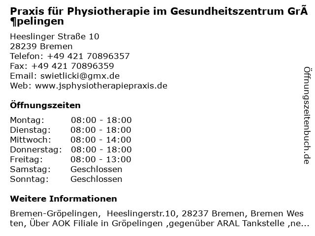 Praxis für Physiotherapie im Gesundheitszentrum Gröpelingen in Bremen: Adresse und Öffnungszeiten