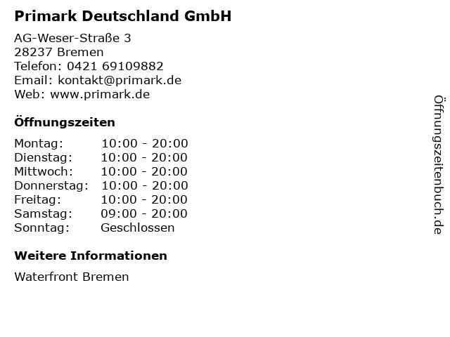 Primark Deutschland GmbH in Bremen: Adresse und Öffnungszeiten