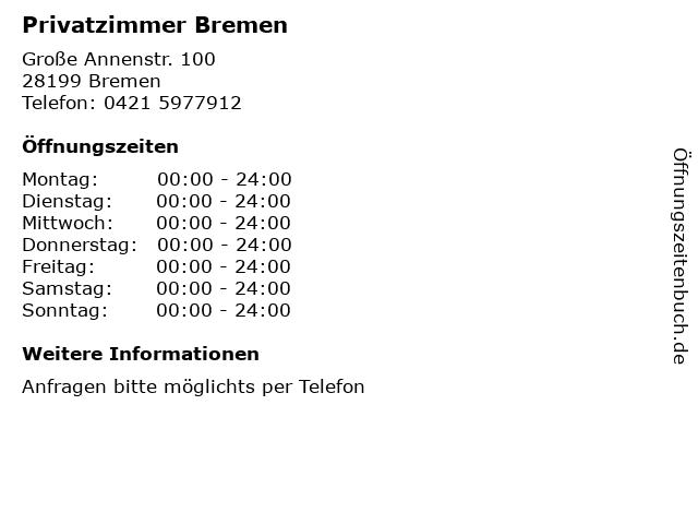Privatzimmer Bremen in Bremen: Adresse und Öffnungszeiten