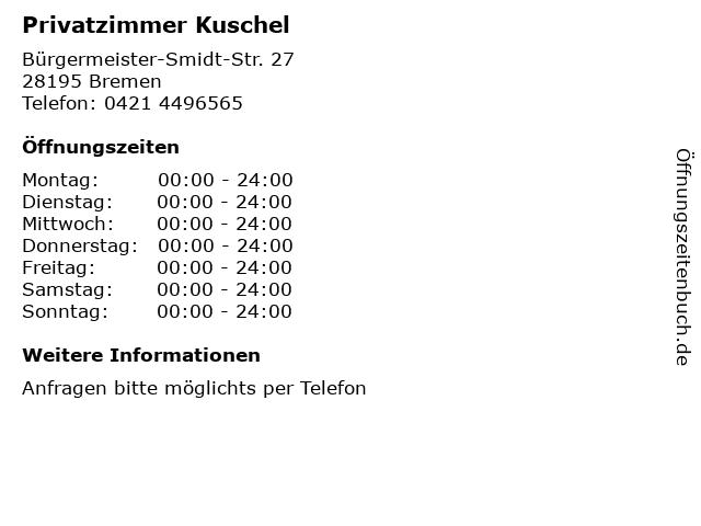 Privatzimmer Kuschel in Bremen: Adresse und Öffnungszeiten