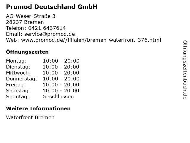 Promod Deutschland GmbH in Bremen: Adresse und Öffnungszeiten