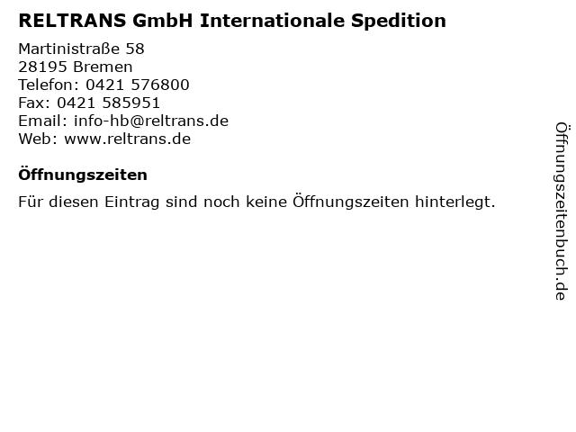 RELTRANS GmbH Internationale Spedition in Bremen: Adresse und Öffnungszeiten