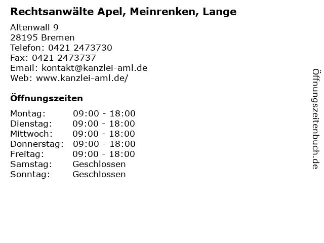 Rechtsanwälte Apel, Meinrenken, Lange in Bremen: Adresse und Öffnungszeiten