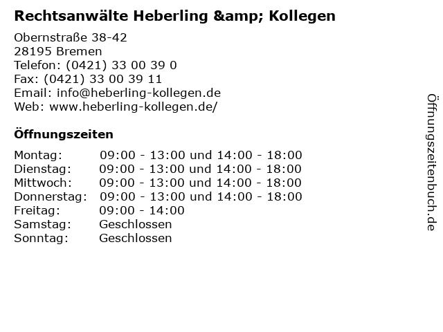 Rechtsanwälte Heberling & Kollegen in Bremen: Adresse und Öffnungszeiten