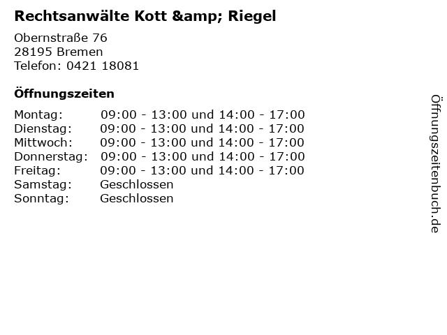 Rechtsanwälte Kott & Riegel in Bremen: Adresse und Öffnungszeiten