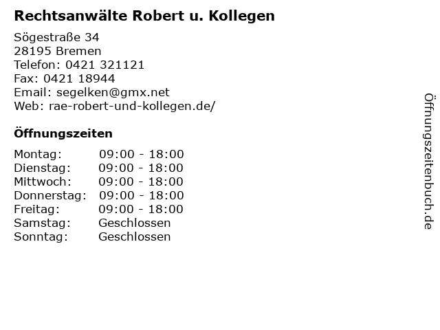 Rechtsanwälte Robert u. Kollegen in Bremen: Adresse und Öffnungszeiten