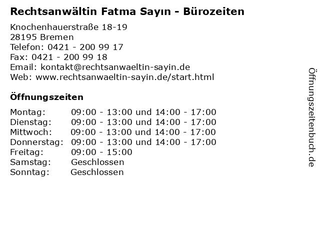 Rechtsanwältin Fatma Sayın - Bürozeiten in Bremen: Adresse und Öffnungszeiten