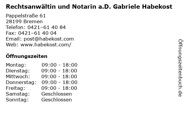 Rechtsanwältin und Notarin a.D. Gabriele Habekost in Bremen: Adresse und Öffnungszeiten