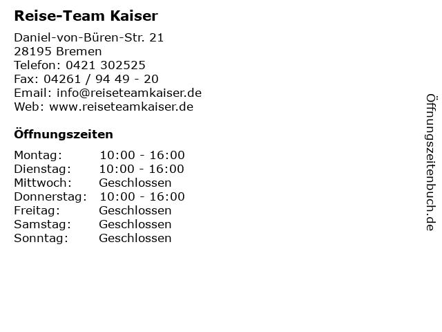 Reise-Team Kaiser in Bremen: Adresse und Öffnungszeiten
