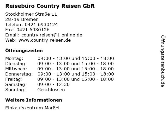 Reisebüro Country Reisen GbR in Bremen: Adresse und Öffnungszeiten