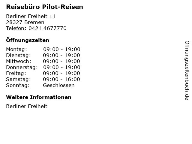 Reisebüro Pilot-Reisen in Bremen: Adresse und Öffnungszeiten