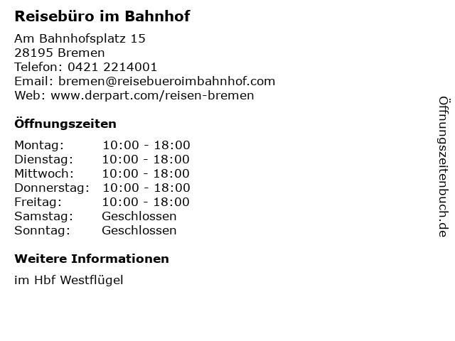 Reisebüro im Bahnhof in Bremen: Adresse und Öffnungszeiten