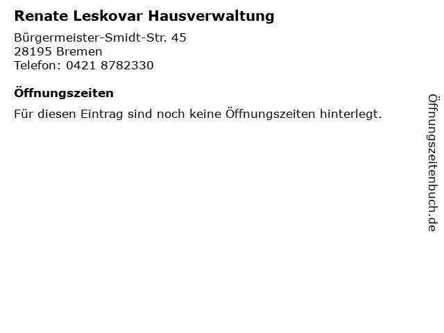 Renate Leskovar Hausverwaltung in Bremen: Adresse und Öffnungszeiten
