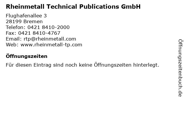 Rheinmetall Technical Publications GmbH in Bremen: Adresse und Öffnungszeiten