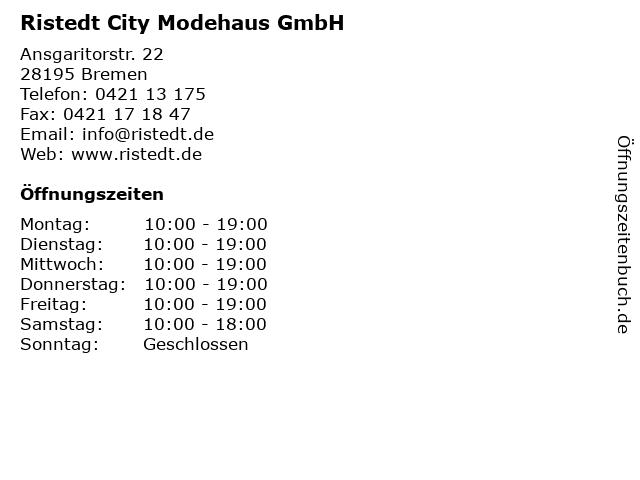 Ristedt City Modehaus GmbH in Bremen: Adresse und Öffnungszeiten