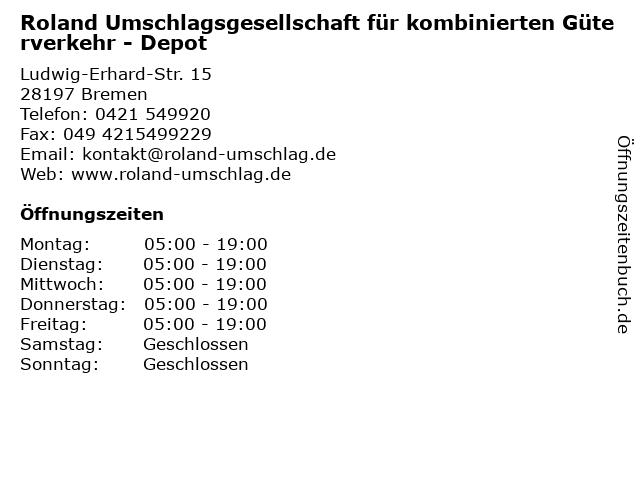 ᐅ öffnungszeiten Roland Umschlagsgesellschaft Für Kombinierten