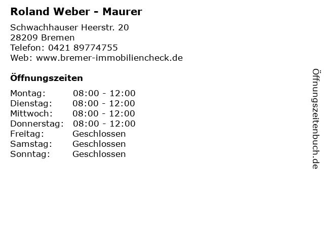 Roland Weber - Maurer in Bremen: Adresse und Öffnungszeiten