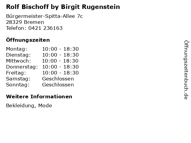 Rolf Bischoff by Birgit Rugenstein in Bremen: Adresse und Öffnungszeiten